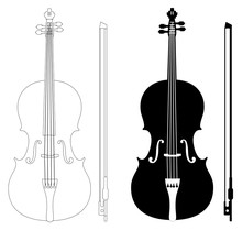 Violin Set Isolated On White Background Vector Eps 10