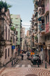 August 30, 2017. Macao, China. The old dirty slum resident. Old town streets in Macao.