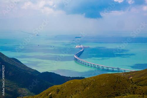 Cuadros en Lienzo Aerial view of the Lantau Island in Hong Kong with nature, new bridge and the oc