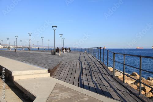 City on the water Molos Promenade on the coast of Limassol city, Cyprus.