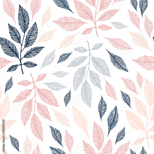 Seamless pattern with hand drawn branches. Poster