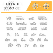 Set Line Icons Of Trucks And T...