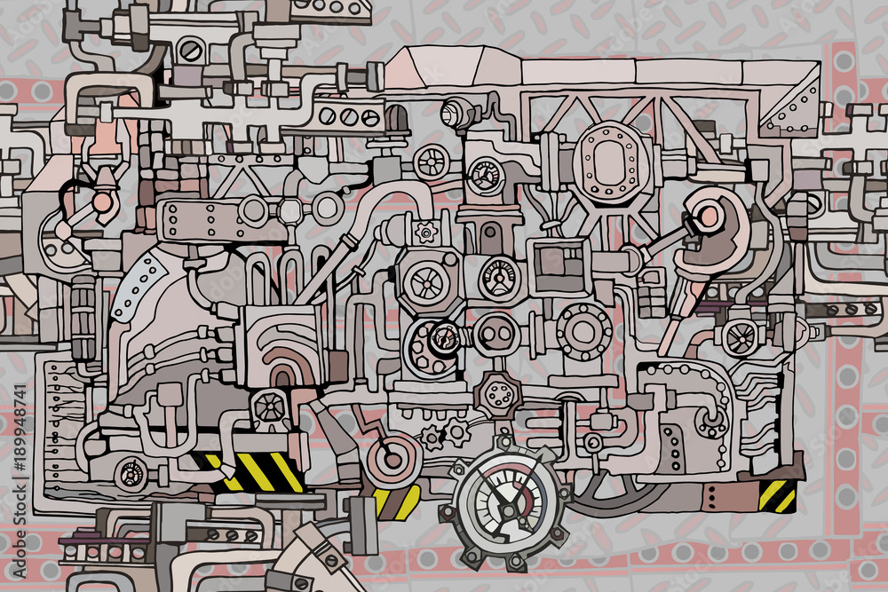 Fototapety, obrazy: Vector seamless pattern Abstract industry or steampunk background. Technology or factory illustration with decorative machine sketch elements. Hand drawn.