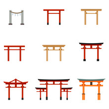 Vector Set Of Flat Color Torii Gate Icons.