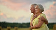 canvas print picture elderly couple  on the background of sky