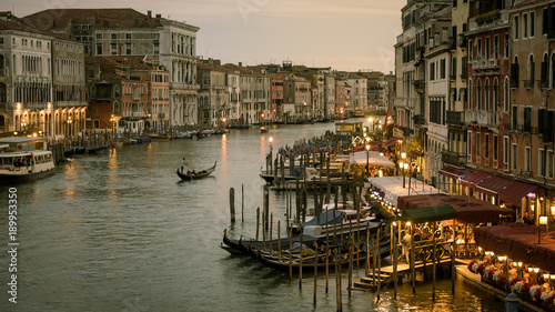 Grand Canal with gondolas at night in Venice, Italy © scaliger