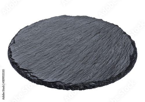 Round slate plate isolated on white background