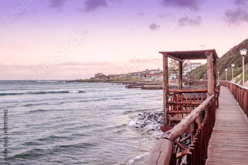 Poster Afrique du Sud Gonubie beach boardwalk at sunset. Beautiful seascape background