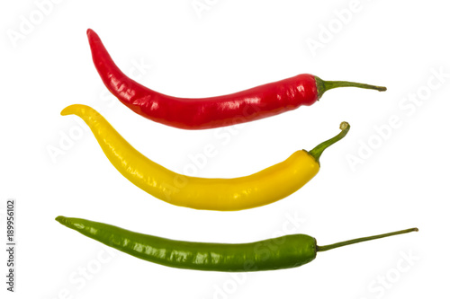 Colorful hot chili pepper isolated on white background.