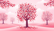 Valentines Day Trees, Pink Lan...