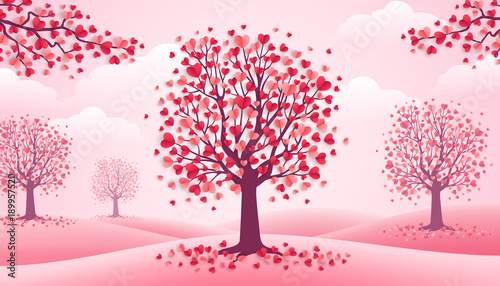 Valentines Day trees, pink landscape © kotoffei