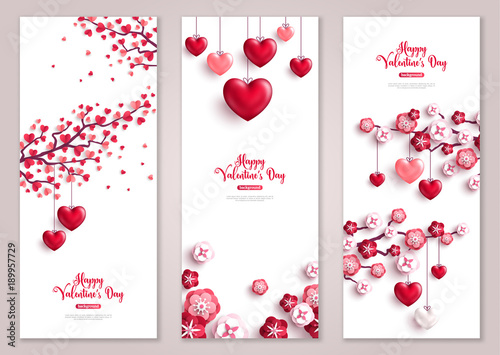 Fotografía Valentines vertical banners, tree with hearts.