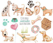 Watercolor Cute Funny Dogs And Elements Collection, Hand Drawn Isolated On A White Background