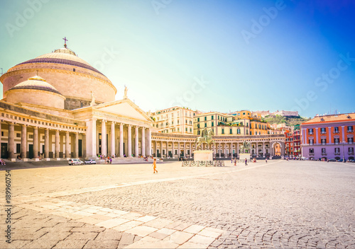 Photo sur Toile Naples Piazza del Plebiscito, Naples Italy