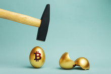 Golden Bitcoin Egg And Hammer ...