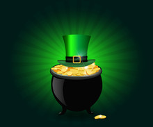 St Patricks Day Symbols. Pot Full Of Golden Coins And Green Hat