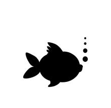 Black Silhouette Of Goldfish  ...