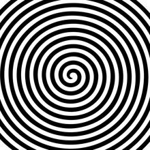 Black White Round Abstract Vortex Hypnotic Spiral Wallpaper