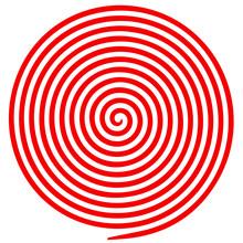 Red And White Round Abstract Vortex Hypnotic Spiral.