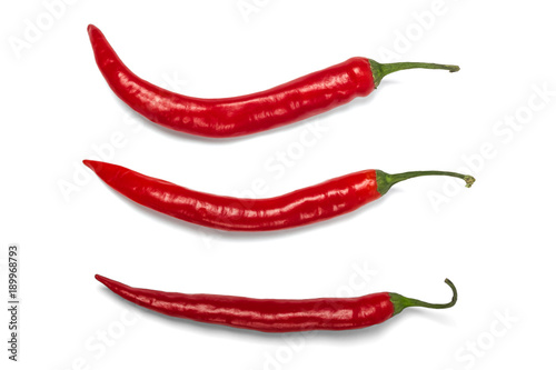 Red hot chili pepper isolated on white background.