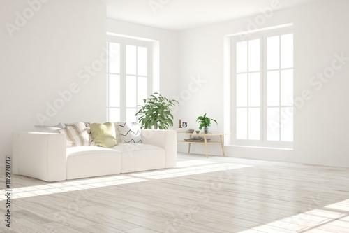 Valokuva  Idea of white minimalist room with sofa