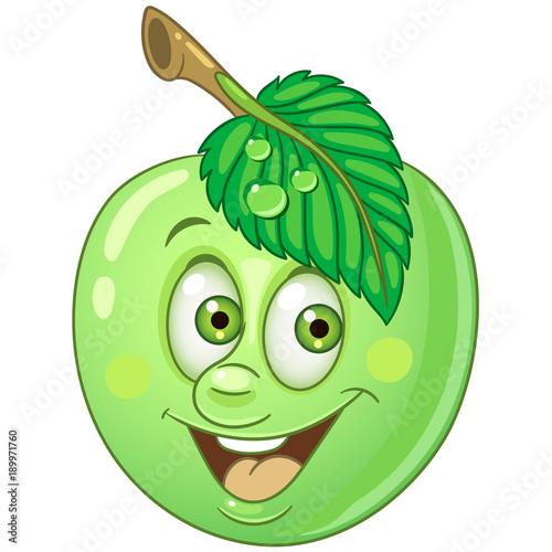 Happy Fruit Emoticon Smiley Emoji Eco Food Symbol Design
