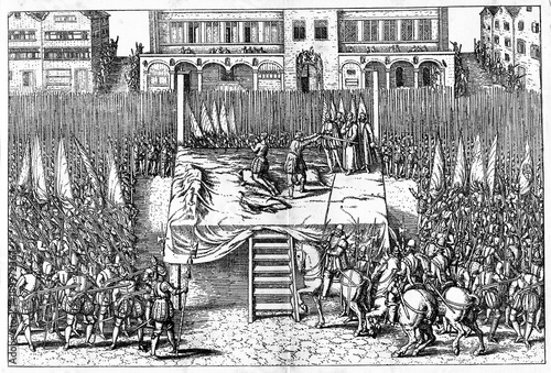 Obraz na plátne  Beheading of counts of Egmont and Horn on June 5, 1568  (from Spamers Illustrier