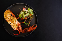 Ready Made Stuffed Lobster Restaurant Dish Concept. Proper Nutrition. Lifestyle Of High Society. Free Space