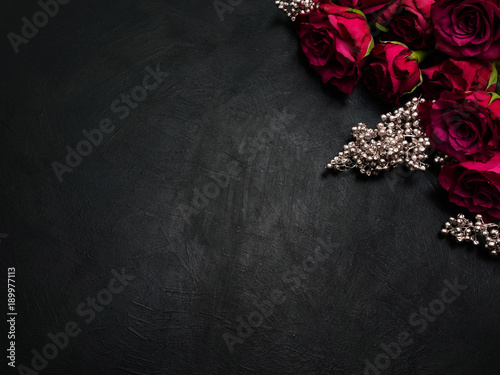Burgundy or wine red roses and silver decor on dark background Wallpaper Mural