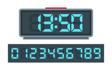 Blue Digital Clock And Set Of ...