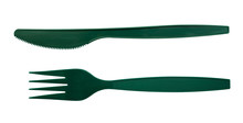 Green Plastic Cutlery Fork And Knife Isolated On White Background, Clipping Path Included