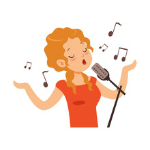 Girl Singing With Microphone, ...