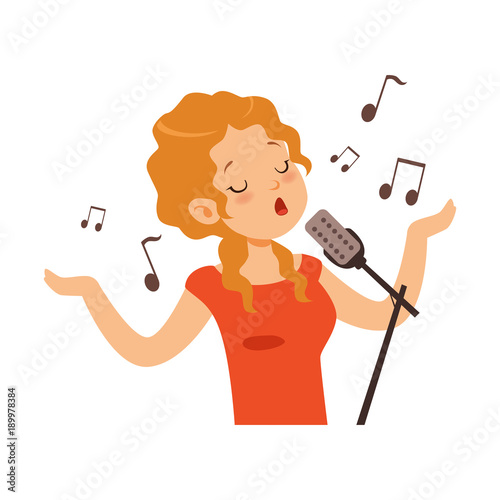 Obraz na plátně Girl singing with microphone, singer character cartoon vector Illustration