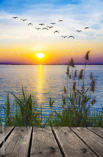 krajobraz zachodu słońca nad brzegiem morza