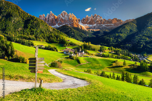 Spoed Foto op Canvas Alpen Alpine spring landscape with Santa Maddalena village, Dolomites, Italy, Europe