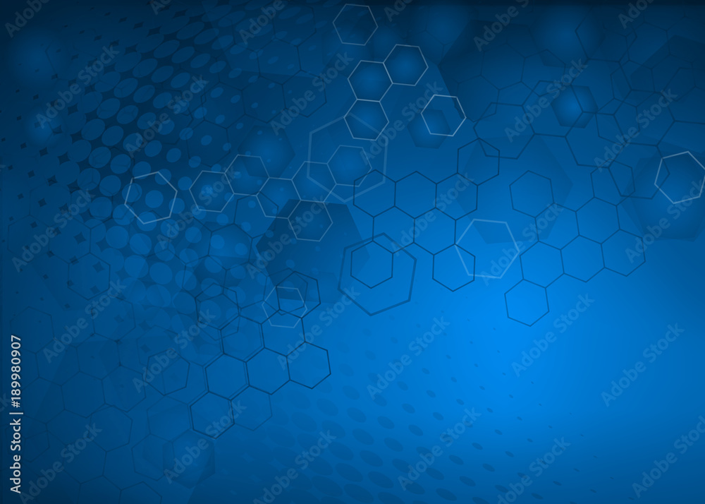 Abstract High Resolution Free Radical Molecular Illustration Of Blue Faded Hexagonal Geometric Layered Design Background Perfect For Medical Healthcare And