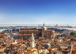 Panorama view of the roofs of Venice from the top of the St Mark's bell tower ( San Marco Campanile ) of St. Mark's Basilica in Venice, located on St. Mark's Square in Venice, Italy