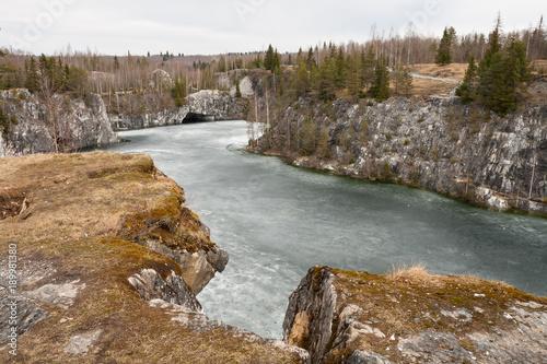 Fototapeten Wasserfalle Marble quarry Ruskeala