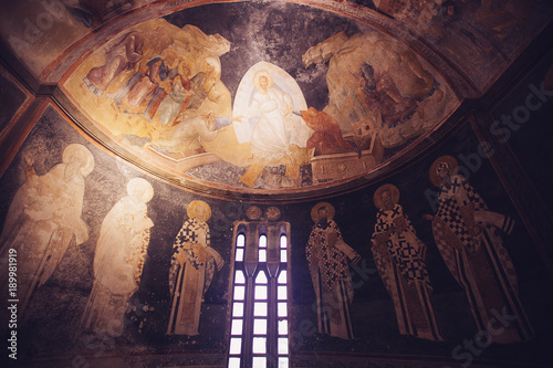 Fotografie, Obraz ISTANBUL, TURKEY - JANUARY 15, 2018: Interior and ancient mosaic in the Church o
