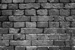 Black and white brick wall texture background.