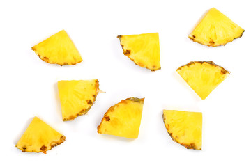Sliced pineapple isolated on white background. Top view. Flat lay pattern