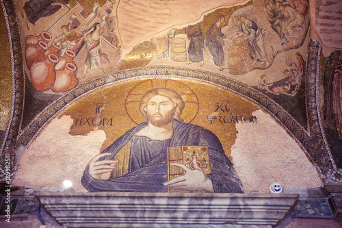 Poster Tunesië ISTANBUL, TURKEY - JANUARY 15, 2018: Interior and ancient mosaic in the Church of the Holy Saviour in Chora, or Kariye Camii