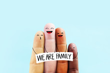 Stop Racism Icon. Motivational Poster Against Racism And Discrimination. Different Races Hold Together. We Are Family