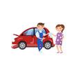 Young woman repairing injured car at car service, auto insurance concept cartoon vector Illustration