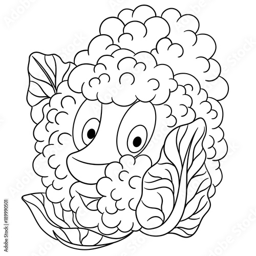 Coloring Page Cartoon Cauliflower Happy Vegetable Character Eco Food Symbol Design Element