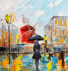 Fototapetaoil painting, woman with an umbrella near the Moulin Rouge, a walk in Paris, artwork on canvas