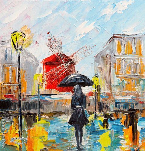 oil painting, woman with an umbrella near the Moulin Rouge, a walk in Paris, artwork on canvas