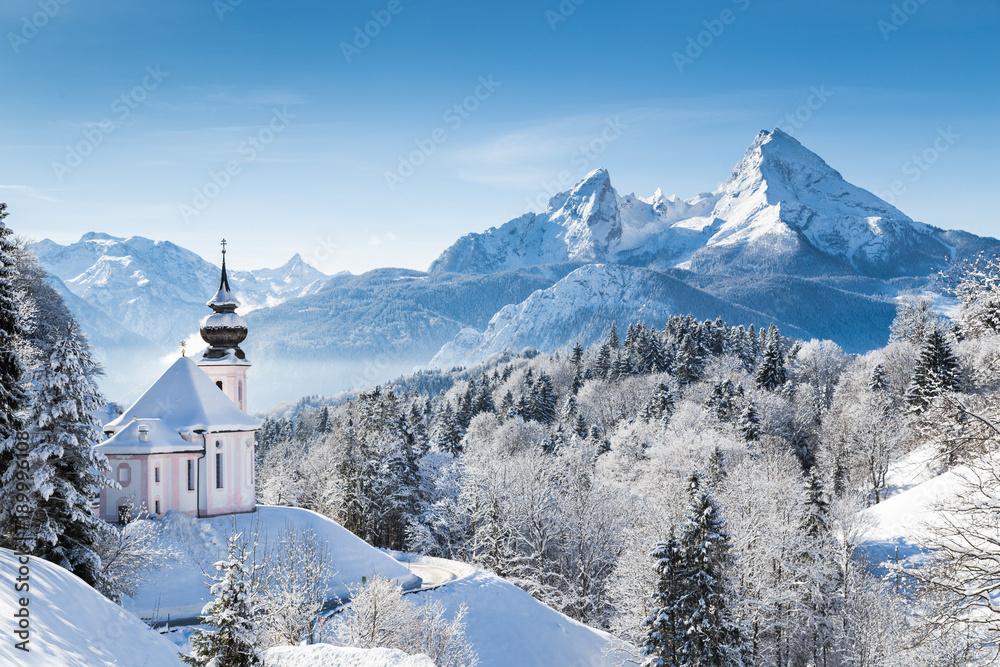 Foto-Leinwand ohne Rahmen - Church of Maria Gern with Watzmann mountain in winter, Berchtesgadener Land, Bavaria, Germany