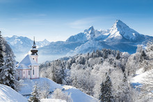 Church Of Maria Gern With Watzmann Mountain In Winter, Berchtesgadener Land, Bavaria, Germany