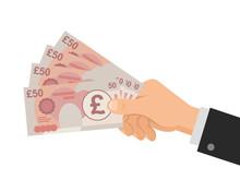 Hand Holds Money UK Pounds 50 ...